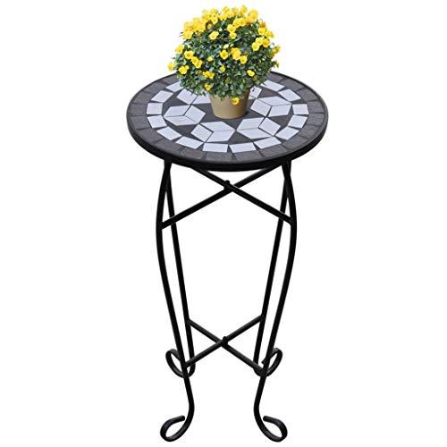 Tidyard Table d'appoint pour Jardin/Balcon/Terrasse Style Classique Noir et Blanc