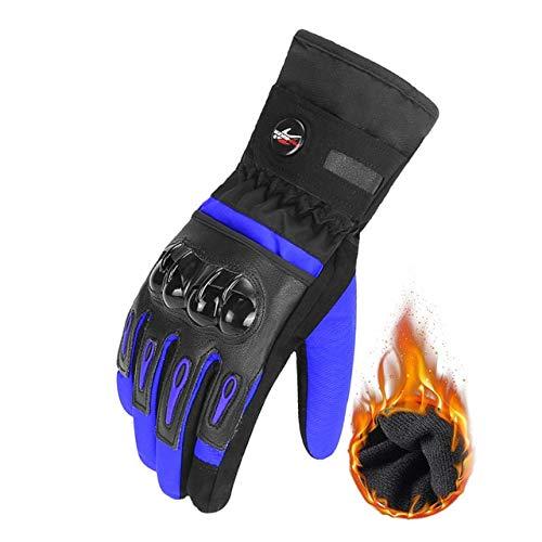 Mdsfe Guanti da moto guanti da ciclismo guanti da moto traspiranti dito pieno impermeabile e antivento invernale -Blu X XL