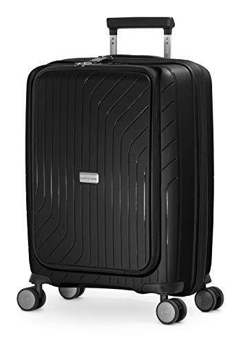 HAUPTSTADTKOFFER - TXL - leichtes Handgepäck mit Laptoptasche, Hartschalen-Trolley aus robustem Polypropylen, 55 cm, 40 L,TSA-Schloss, Schwarz