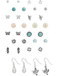 """SIX """"Basic"""" Damen Ohrring, 16 Ohrstecker in einem Set, silber, mint, gelb, Vögel, Blumen Weihnachtsgeschenk (455-535)"""