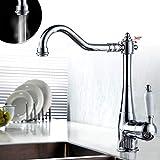 Auralum Moderno 360°Rubinetto lavabo alto cromato lavandino monocomando miscelatore per bagno e cucina(acqua fredda e calda),miscelatore rubinetto cucina in ottone