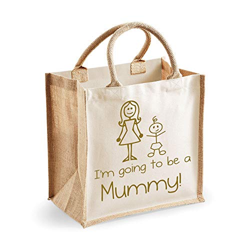 60 Second Makeover Limited Medium Jute Bag I 'm Going To Be A Mummy Natural Bag, gold Text Mütter Tag Neue Mama Geburtstag Weihnachtsgeschenk