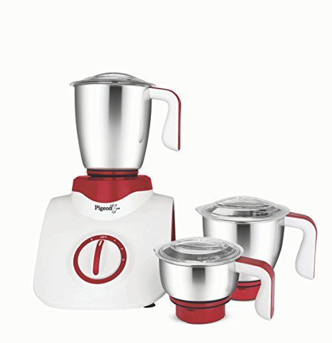 Pigeon Super Storm 12633 750-Watt Mixer Grinder with 3 Jars (Burgandy)