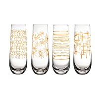 Fifth Avenue Crystal 229469-4SFL Festive Set of 4 Lead-Free Stemless Champagne Flutes, Glass, 9.5 Fluid_Ounces, Gold