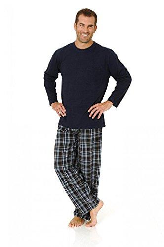 Herren Pyjama Mix& Match Schlafanzug, Hose gewebt, Oberteil Wirkware, 101 90 625, Farbe:marine;Größe:52 (Pyjama Nachtwäsche Gewebte Hose)