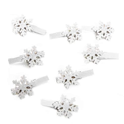 8 Stück kleine weiße silber glitzernde Zier-Klammern SCHNEEFLOCKE STERN EISKRISTALL 4,5 cm Deko-Klammern Holz-Klammern Mini-Klammern Weihnachtsklammern Mini-Wäscheklammern