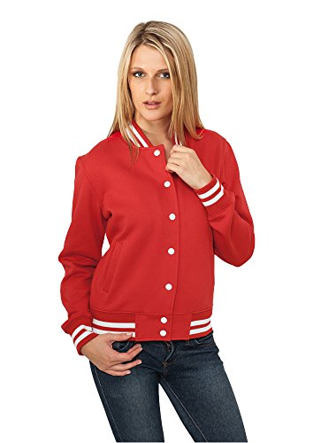 Urban Classics Damen Collegejacke Ladies College Sweatjacket, Farbe red, Größe XL