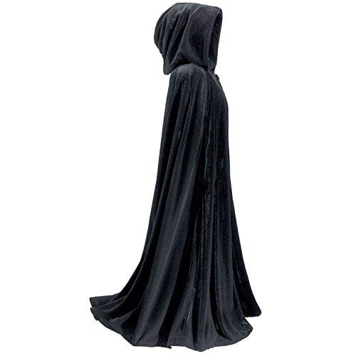 Dressvip Lange Halloween Kapuzenmantel Mittelalterliche Hochzeit Cape Robe Cosplay Umhang (L, Black) (Bodenlange Robe)