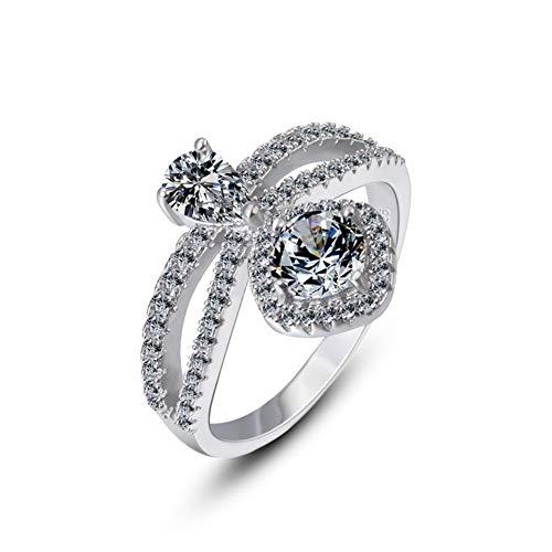 HSUMING 925 Sterling Silber Teardrop Kristall Ring Statement Ring für Frauen Mädchen,22 - Ringe Amethyst Teardrop