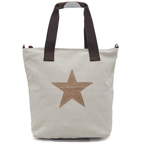 Vain Secrets Sternen Shopper Damen Handtasche mit Schulterriemen Beige