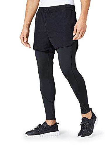 FIND Leggings und Shorts Herren Sport Kombination mit elastischem Bund, flüssigkeitableitend, Schwarz (Black), 50 (Herstellergröße: M) (Shorts Leggings Strumpfhose)