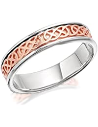 Clogau Womens Ladies Jewellery Silver And 9ct Rose Gold Annwyl Celtic Band Ring