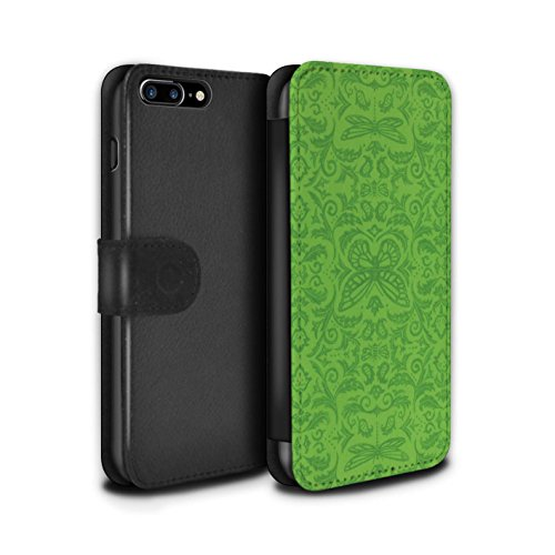 Stuff4 Coque/Etui/Housse Cuir PU Case/Cover pour Apple iPhone 7 Plus / Noir / Blanc Design / Motif médaillon Collection Vert