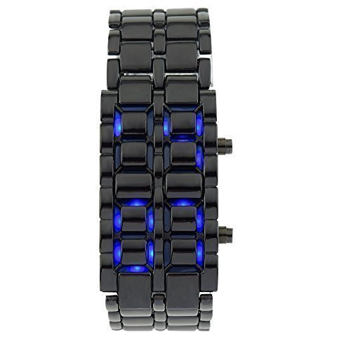 So vedere da uomo impermeabile Volcanic Blu LED Digitale in acciaio inox Bracciale Orologi
