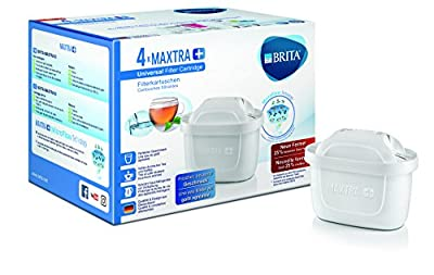 Brita 1023124 Maxtra Ion-exchange, Carbon Plus Pack 4 External - Plastic Internal Water Filter Cartridge - 10 x 5.5 x 7 cm White