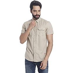 Jack & Jones Men's Casual Shirt (5713235798820_12115499Beige_Small)