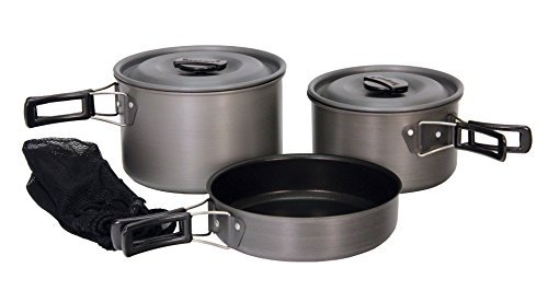 Texsport Black Ice The Scouter 5 pc Hard Anodized Camping Cookware Outdoor Cook Set with Storage Bag by Texsport - Texsport Black Ice