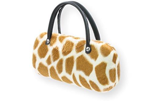 Brillenetui Damen mit samtiger Oberfläche wie Fell - auch innen - 4 verschiedene trendige Designs, Farbe:beige braun Giraffe (012)