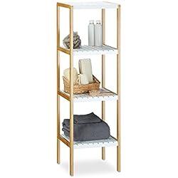 Estantería de bambú, 4 niveles, para baño, bambú, 110 x 33 x 34 cm