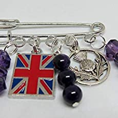 Union Flag /& Thistle Kilt Pin Silver Coloured with Purple Crystal Rondels /& Purple Agate