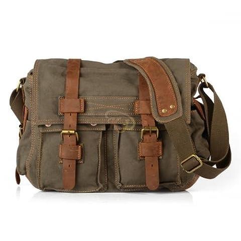 K9D Men's Vintage Canvas Leather School Bag Military Shoulder Bag Handbag Messenger Bag Army Green & With a Nice Gift