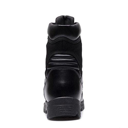 Uomo Inverno Scarpe di pelle All'aperto Plus cashmere Stivali da neve Tenere caldo Stivali alti Confortevole Piede di protezione Aumenta le scarpe euro DIMENSIONE 38-46 Black