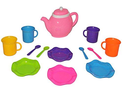 14 tlg. Set - Puppengeschirr - Kaffeekanne + Teller + Tassen + Löffel - bunt Kunststoff / Plastik -...