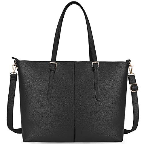 NUBILY Laptop Damen Handtasche 15,6 Zoll Shopper Handtasche Schwarz Elegant Leder Taschen Große Leichte Elegant Stilvolle Frauen Handtasche für Business/Schule/Einkauf -