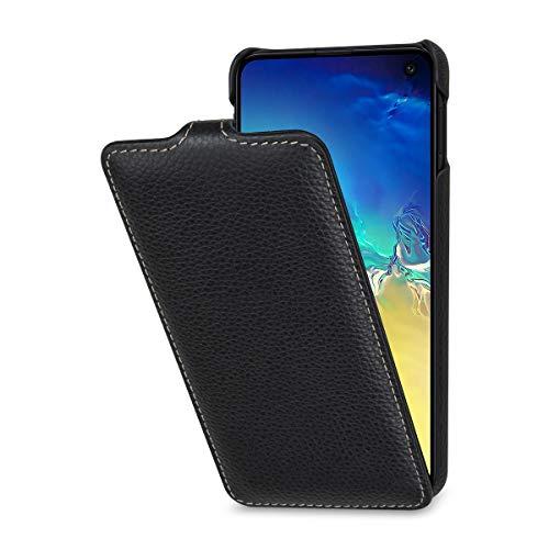 StilGut Leder-Hülle kompatibel mit Galaxy S10e vertikales Flip-Case, schwarz
