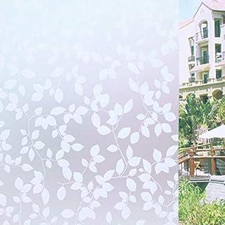 Tamia-Livinhg Statische Fensterfolie 90% UV-Sonnenschutz Selbsthaftende Sichtschutzfolie Glasdekor Blätter Weiß P022W (90 * 200cm)