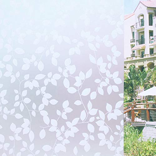 Tamia-Living milchglasfolie Fensterfolie Milchglas Duschkabinen Blickdicht Folie Fenster Selbstklebend Sichtschutzfolie Sichtschutz Statisch Haftend Glasdekor Blätter Weiß P022W (90 * 200cm) -