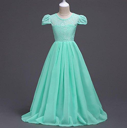 Mädchen-lange Kleider Spitze-Blumen-Hochzeits-Abschlussball-Partei 6-15 Jahre , green , 140 (Formale Festzug-abschlussball-kleid)