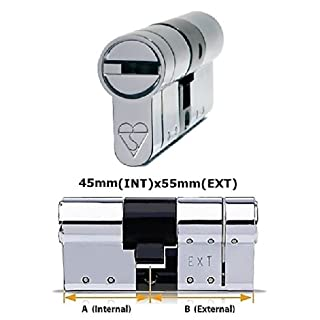 ABS Avocet High Security Schließzylinder - Anti-Klickverschlüssen - Sold Secure Diamant Standard - Star 3 - Chrom 45 mm (INT) x55mm (Verlängerung)