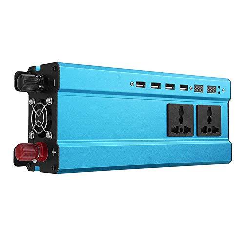 Haihuic 1600W / 850W Wechselrichter, DC 24V zu AC 220V Autokonverter mit 4X USB-Ports und 3X AC-Steckdosen | Blau