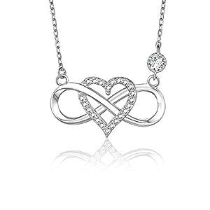BlingGem Kette Frauen Silber Damen Ketten Unendlichkeit Herz Für immer zusammen aus Weißgold vergoldet 925 Sterling Silber Halskette Schmuck zum Valentinstag