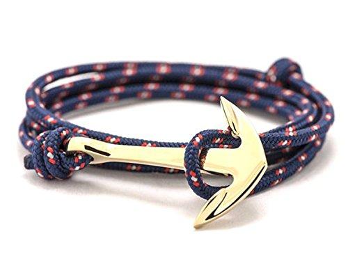 BS - Bracelet Ancre Marine - Mixte - Cordage de Voile & Ancre en Métal Doré