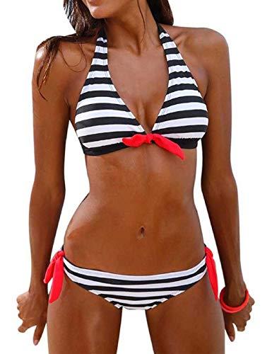 Tuopuda costume da bagno donna due pezzi righe bikini set collo appeso swimwear coordinati da bikini per donna (nero, l)