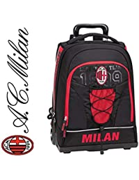 Mochila con ruedas para escuela AC Milan 2019, color rojo Tifo, universidad, viaje