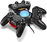 LeSB Ladestation für PS4-Controller, LED-Licht-Dreieck Triple-Port-Ladestation für Play Station 4 Dualshock-Konsole