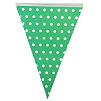 JUNGEN Bunting Banner Triangle Flag with Dots for Children Birthday Party Green
