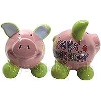 Preisvergleich für Swiggie Sparschwein Glücksschwein Happy Birthday Girl Spardose 8,5cm 13cm 15,5cm: Größe: 08,5 cm