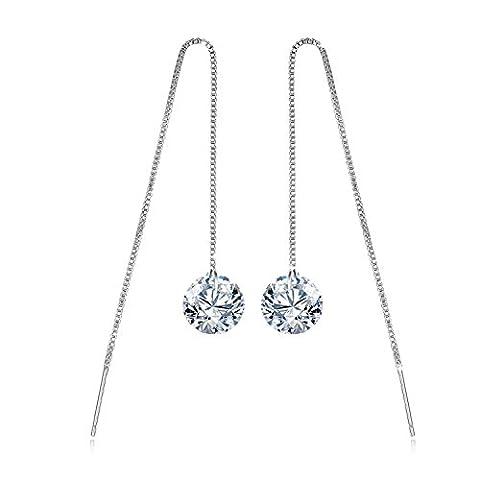 Fashmond- Boucles d'Oreilles pendantes chaîne étoile Argent fin 925 avec