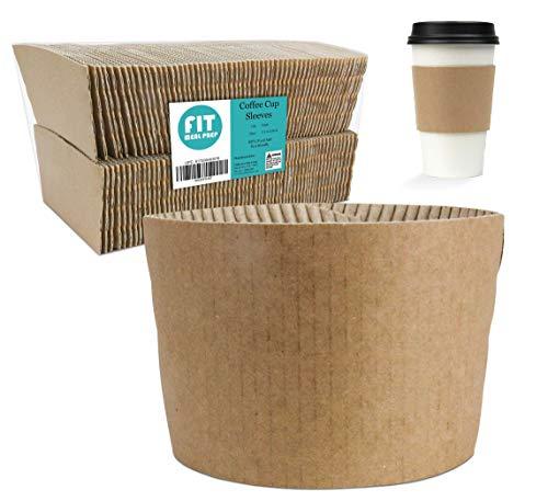 Kraft-Kaffeetassenhülle - Braun Einweg-Papierhülle aus Wellpappe, hält heiße und kalte Getränke, Espresso, Kaffee, Milch, Tee, Getränkeisolierer und Handschutz Kraft Brown Aves-cup