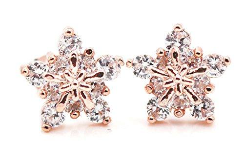 findout damen rosé vergoldet 925 silber kristall schneeflocke ohrringe. für frauen mädchen. ()