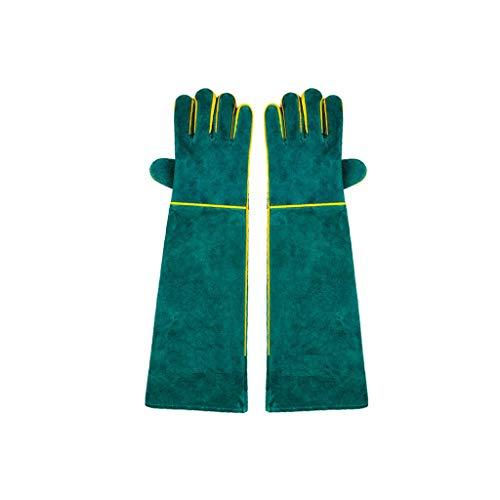 LWBUKK Haustier-Trainings-Handschutz, Handschuhe Dicker Anti Greifen Biss, Grünen Anti-bite Hochwertige Lederhandschuhe Verlängern 58cm Handschuhe