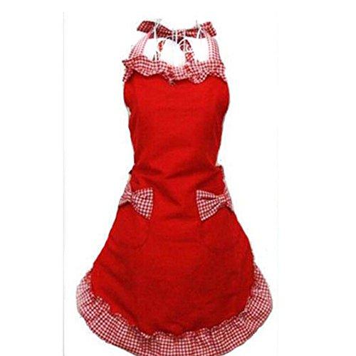 Frauen Bowknot Schicke Kochschürze Schürze Kleid Mit Tasche - Rot
