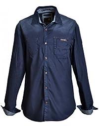 NO-EXCESS: Chemise homme manches longues - Chemise homme en jean taille L de couleur bleu