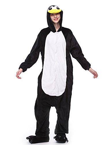 SWISSWELL Unisex Erwachsene Onesie Kostüm Jumpsuit Schlafanzug,Hausanzug,Jogginganzug,Tier Cosplay kostüm,Schlafanzug Hoodie Onesie Nachtwäsche Pyjamas Tieroutfit mit Kapuze Pinguin XL
