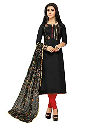 AKHILAM Women's Embroidered Chanderi Cotton Semi-Stitched Chudidar Salwar Suit Dress Material with Chiffon Dupatta (Black_Free Size)