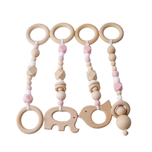 Imagen para Mordedor Juguete de madera del niño de 4 piezas Juego de bebé Gimnasio cochecito de juguete para niños pequeños BPA para la dentición de madera de arce liberan los granos de los encantos